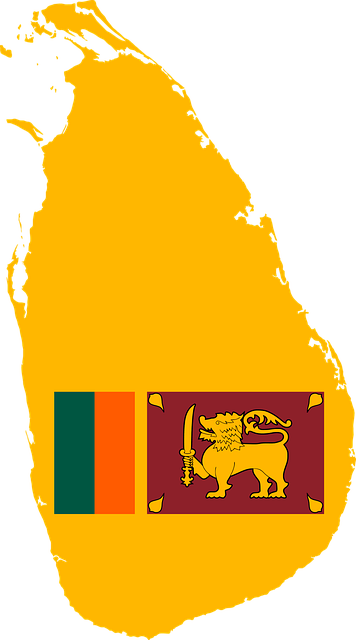 Sri lanka kaart map en vlag