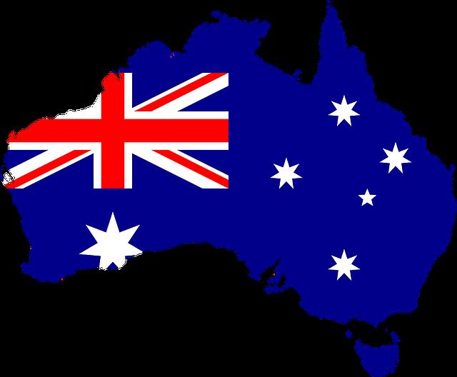 Vlag map en kaart van Australië