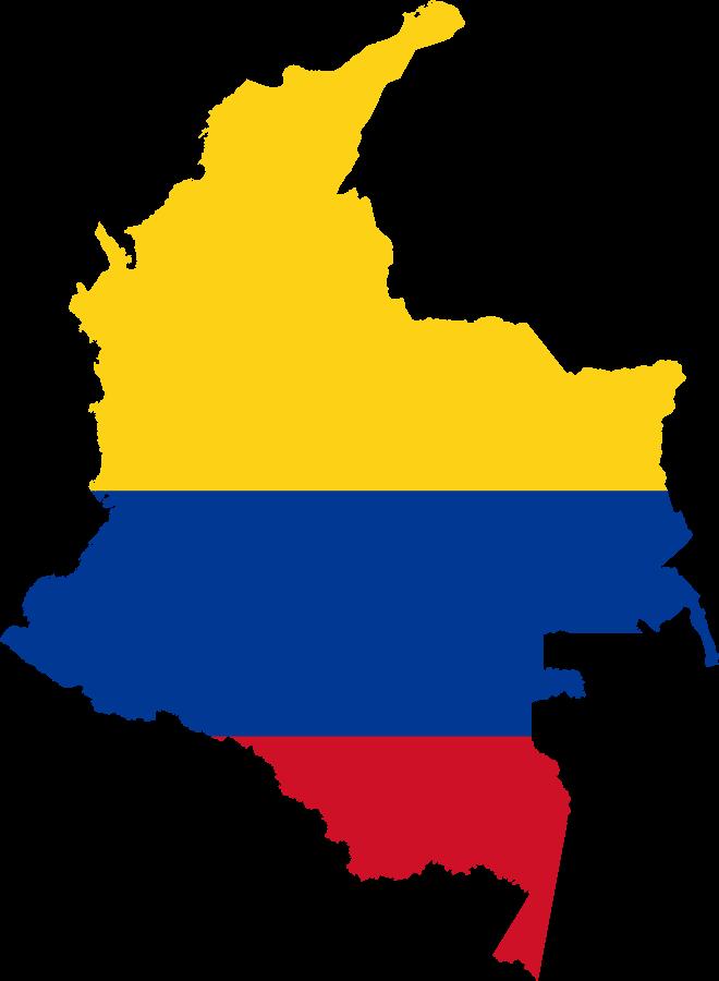 Vlag map en kaart van Colombia